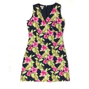 Tommy Bahama Dress Floral 100% Silk Knee Length